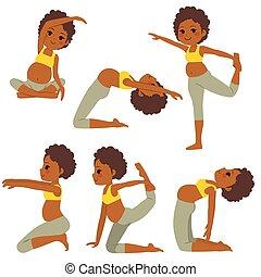 schwanger, joga, schwarze frau, posen