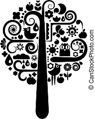 schwarz, ökologisch, baum, weißes, heiligenbilder