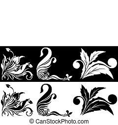 Schwarz ein weißer Blumenpflaster