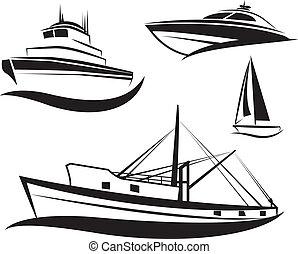 schwarz, schiff, boot, satz, vektor