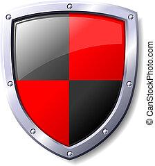 schwarz, schutzschirm, rotes
