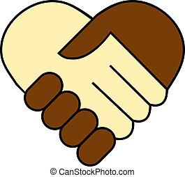 schwarz, zwischen, schütteln, hand, weißes