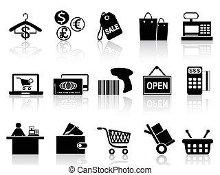 Schwarze Einzelhandels- und Shopping-Icons gesetzt.