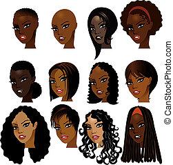 Schwarze Frauen stehen voreinander