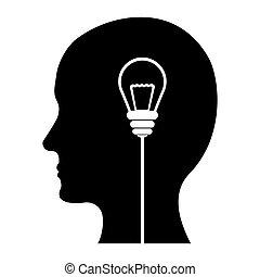 Schwarze Gedanken und Ideen Bilddesign.