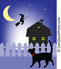 Schwarze Katze, die in der Nacht läuft