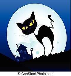 Schwarze Katze in der Nachtstadt