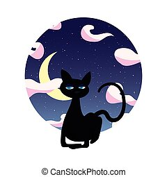 Schwarze Katze sitzt in der Nacht.