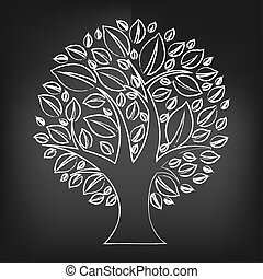 Schwarze Kreidetafel mit abstraktem Baum.