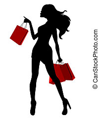 Schwarze Silhouette von jungen Frauen und roten Taschen.