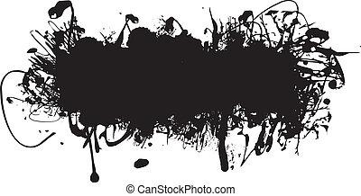 schwarze tinte, spritzen