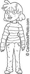 Schwarze und weiße Cartoon-Tarif-Außerirdisches Mädchen.