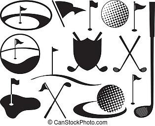 Schwarze und weiße Golf-Ikonen
