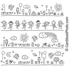 Schwarze und weiße Muster für Kinder.