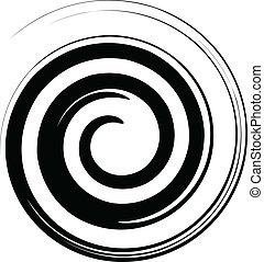 Schwarze und weiße Spiralvektoren.