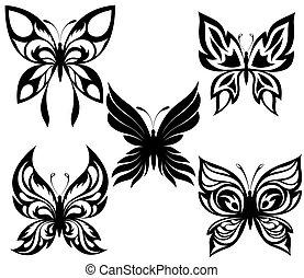 Schwarze weiße Schmetterlinge eines T