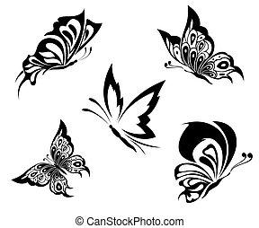 Schwarze, weiße Schmetterlinge eines Tattoos.