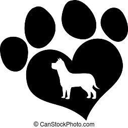 Schwarzer Pfotenabdruck mit Hundesilhouette.