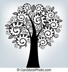 Schwarzer stilisierter Baum.