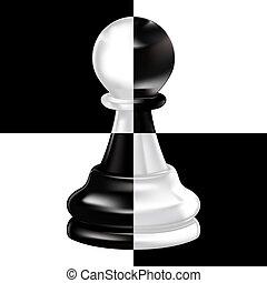 Schwarzer weißer Bauer auf Schachbrett