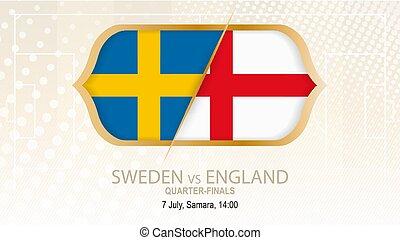 Schweden gegen England, Viertelfinale. Football-Wettbewerb, Samara.