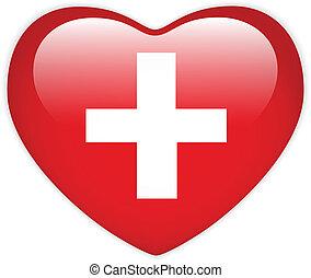 Schweiz Flag Herz Hochglanzknopf.