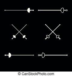 Schwerter für das Fechten Icon setzen weiße Farben Illustration flachen Stil einfaches Bild.