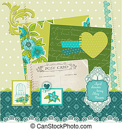 Scrapbook Design Elemente - blaue Blumen in Vektor.