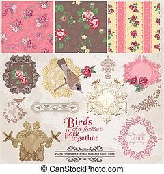 Scrapbook Design Elemente - Vintage Blumen und Vögel - in Vektor.