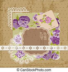 Scrapbook Design Elemente - Vintage Violet Blumen in Vektor.