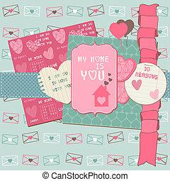 Scrapbook Design Elements - Love Set - für Karten, Einladung, Grüße im Vektor