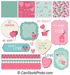 Scrapbook Design Elements - Love Set - für Karten, Einladung, Gruß in Vektor.