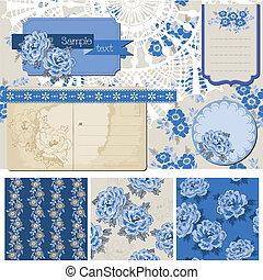 Scrapbook-Elemente - klassische blaue Blumen - im Vektor