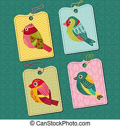 Scrapbook-Elemente - Tags mit Vögeln - für Design, Babyschrottbuch - im Vektor