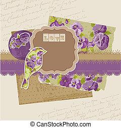 Scrapbook-Elemente - Vintage-Viola-Blumen im Vektor