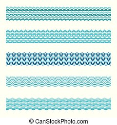 Seamless Blue Water Wave Vektor Fliesen gesetzt.