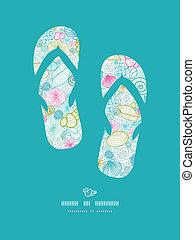 Seashells line Art-Flip-Flops-Dekormuster-Hintergrund
