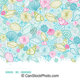 Seashells line Art horizontaler, nahrloser Hintergrund