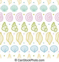 Seashells Streifen Linien-Kunst nahtlose Muster Hintergrund.