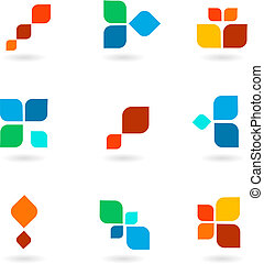 Sechs farbige Symbole, Vektorgrafik.