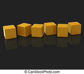 Sechs leere Blocks zeigen Kopien für sechs Buchstaben