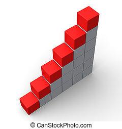 Sechs leere Schritte zeigen Platz für 6 Buchstaben.