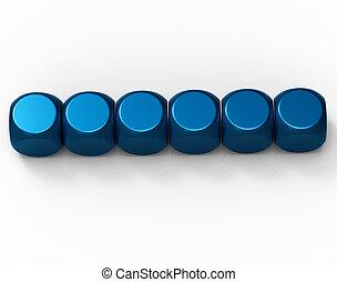 Sechs leere Würfel zeigen Hintergrund für sechs Buchstaben