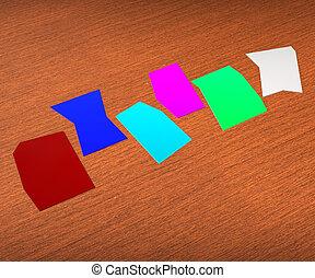 Sechs leere Zettel zeigen Kopien für sechs Buchstaben