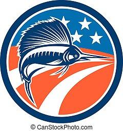 Seefischfische springen amerikanische Flaggenkreis Retro.