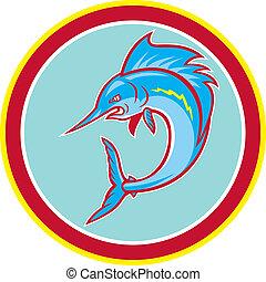 Seefischfische springen im Kreis Cartoon.