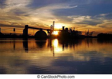 Seeportschiff-Reflektion