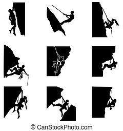 seil, frau, silhouette, extremklettern, klettern, gebirgs mann
