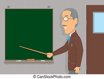 Senior Man unterrichtet / Kopierraum.