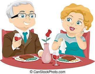 Senior-Paar. Feines Essen.